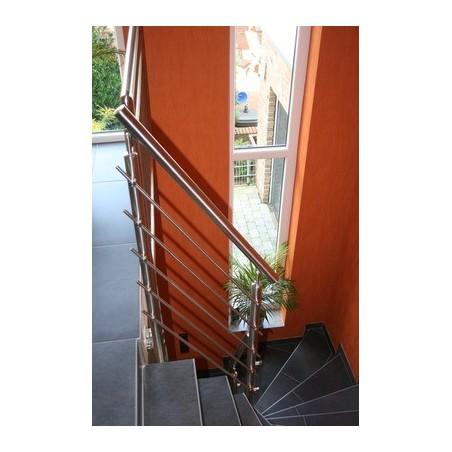 Barandilla de acero inox 6 Varillas Q-Saraya Sujeción poste al lateral AISI304
