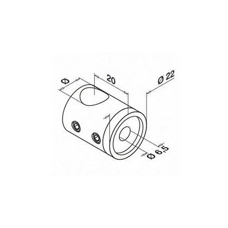 Medidas Soporte para travesaño Mod 0830 varilla Ø12mm para tubo plano (atraviesa varilla)