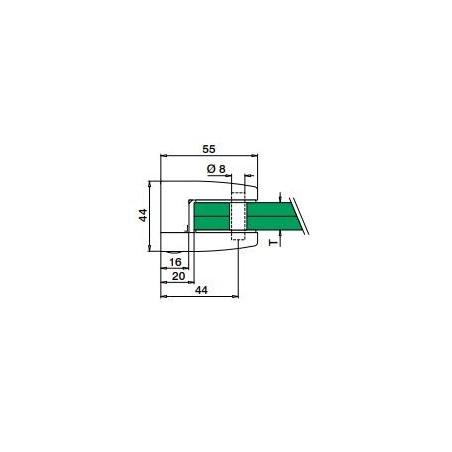 Medidas Pinza cuadrada para vidrio Mod 2300 en acero inox. AISI316