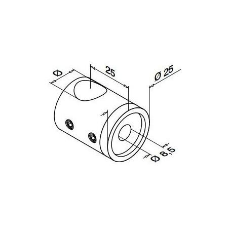 Medidas Soporte para travesaño Mod 0840 varilla Ø16mm para tubo plano