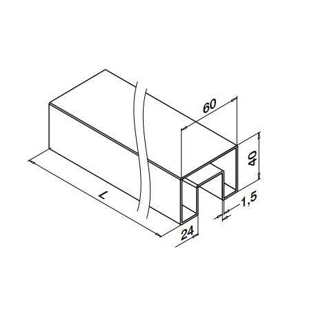 "Medidas Pasamanos en ""U"" rectangular Mod 6924 acero inox. 40X60mm"