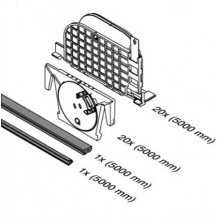 Plano Q-disc System ajustable(set de gomas , inserto y Q-disc) Mod. 6931 para perfil Easy Glass Smart y Prime - Qrailing