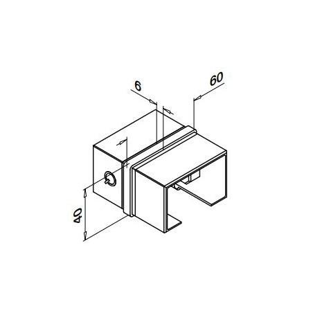 Conector rectangular de unión para tubos en perfil U 6790