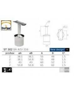 Soporte tubo ST-302 AISI316