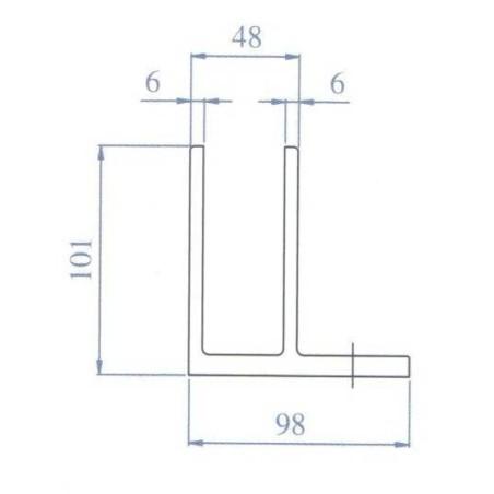 Plano Soporte de barandilla Glass U sobre suelo