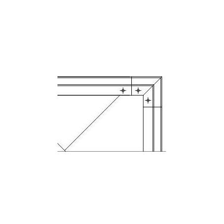 Plano Soporte esquinero Glass U Base fijación interna