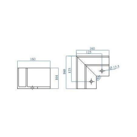 Medidas Soporte esquinero Glass U Base fijación interna