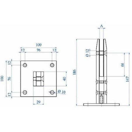 Medidas Barandilla Design pinza cuadrada de planta para vidrio