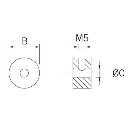 Medidas Adaptador para barandilla modelo SC-850 en acero inoxidable 4-5mm