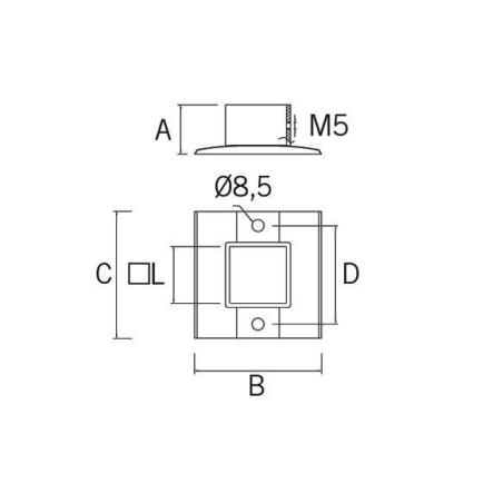 Base de acero inoxidable AV-610 40x40 AISI316 planos