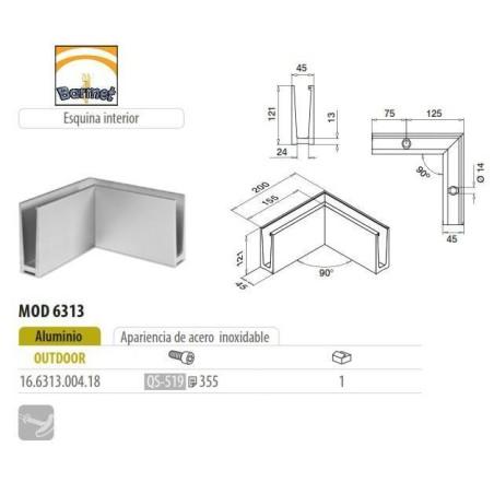Perfil esquina interior para barandilla Easy Glass Slim superior
