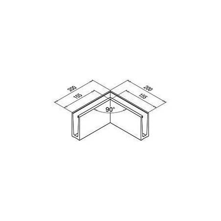 Medidas Perfil esquina interior para barandilla Easy Glass Slim superior