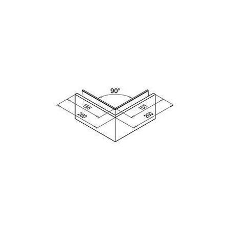 Medidas Perfil esquina exterior para barandilla Easy Glass Slim superior