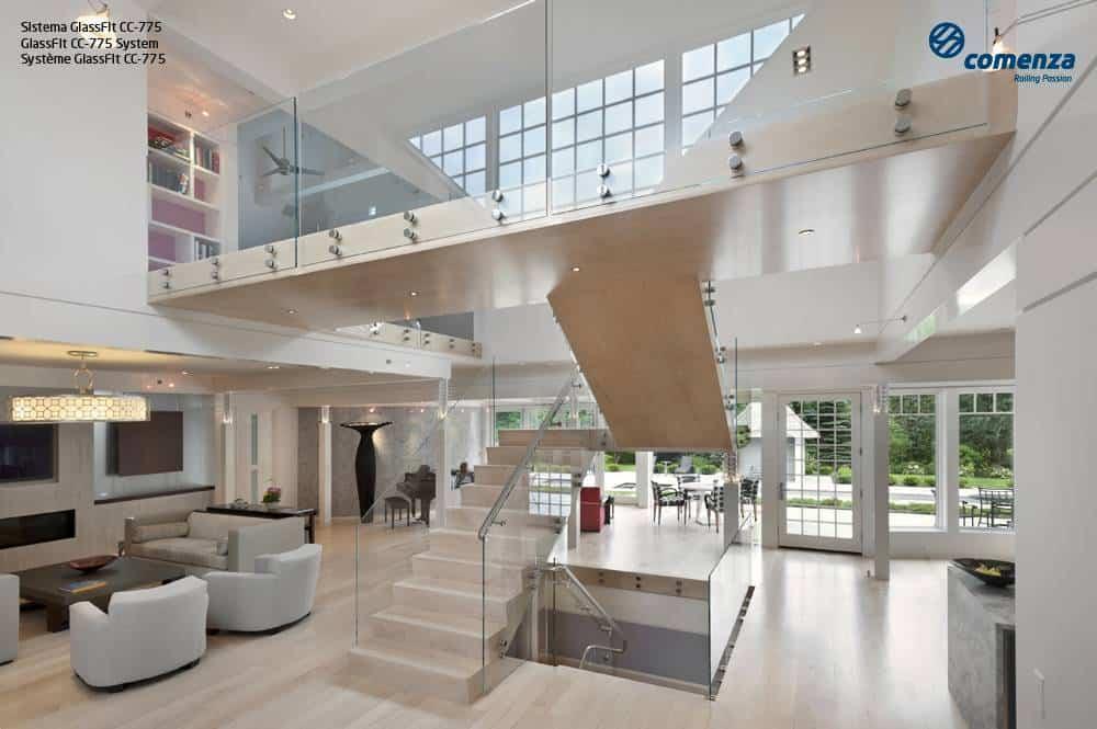 Barandillas de acero inoxidable con vidrio para interior