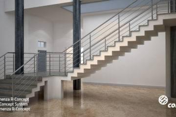 Barandillas de acero inoxidable para escaleras de tramos de la Serie Comenza